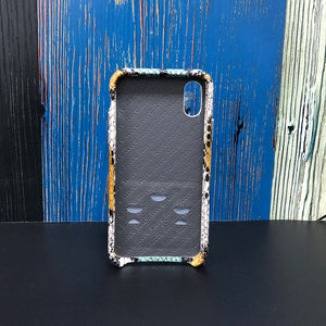 Snake embossed Elasticity Kickstand Leather Phone case iPhone XS - Blue