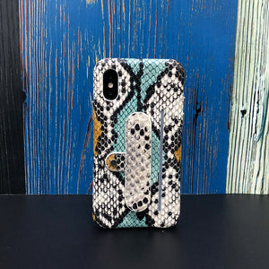Snake embossed Elasticity Kickstand Leather Phone case iPhone 11 - Blue