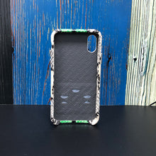Load image into Gallery viewer, Snake embossed Elasticity Kickstand Leather Phone case iPhone XS - Green