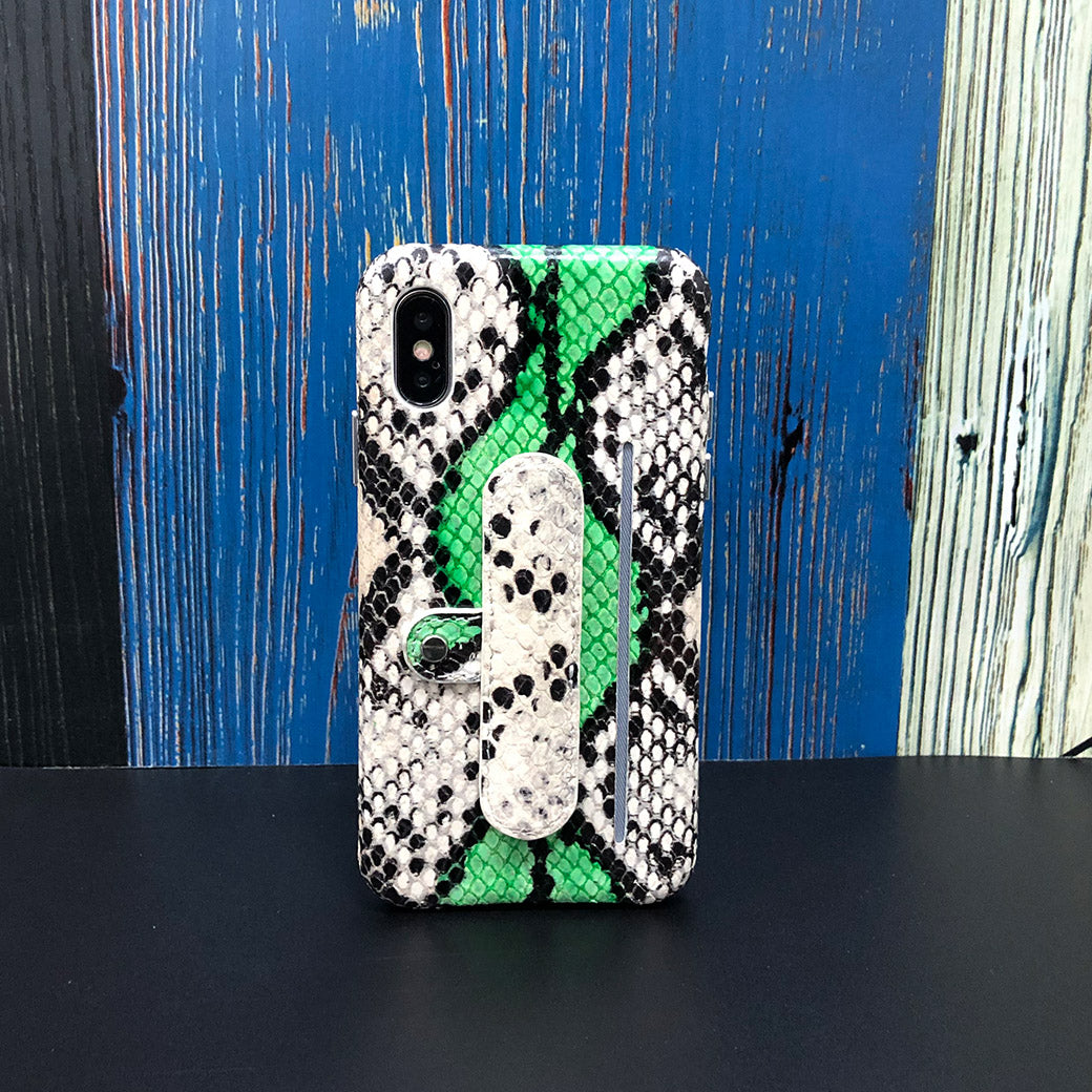 Snake embossed Elasticity Kickstand Leather Phone case iPhone XS - Green