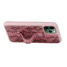 "Load image into Gallery viewer, Multicolor ""2"" Snake embossed leather iPhone 11 Pro Case - Pink"