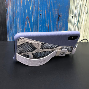Snake embossed series edition Italian Leather kickstand Case iPhone XS - Blue