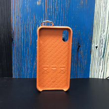Load image into Gallery viewer, Snake embossed series edition Italian Leather kickstand Case iPhone XS - Orange