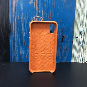 Snake embossed series edition Italian Leather kickstand Case iPhone XS - Orange