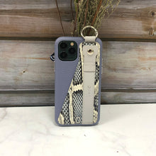 Load image into Gallery viewer, Snake embossed series edition Italian Leather kickstand Case iPhone 11 - Blue