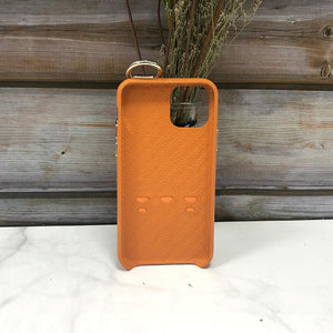Snake embossed series edition Italian Leather kickstand Case iPhone 11 - Orange