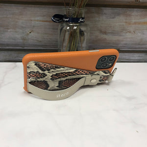 Snake embossed series edition Italian Leather kickstand Case iPhone 11 Pro - Orange