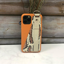 Load image into Gallery viewer, Snake embossed series edition Italian Leather kickstand Case iPhone 11 - Orange