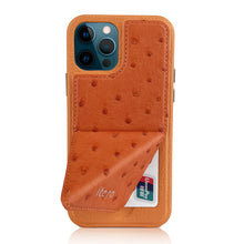Load image into Gallery viewer, Ostrich Leather iPhone 12 | 12 Pro Case _ Stand Function
