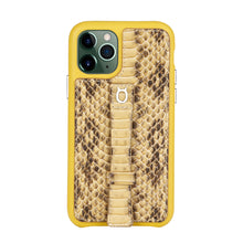 "Load image into Gallery viewer, Multicolor ""2"" Snake embossed leather iPhone 11 Case - Yellow"