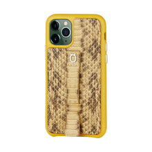 "Load image into Gallery viewer, Multicolor ""2"" Snake embossed leather iPhone 11 Pro Case - Yellow"