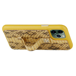 "Multicolor ""2"" Snake embossed leather iPhone 11 Case - Yellow"