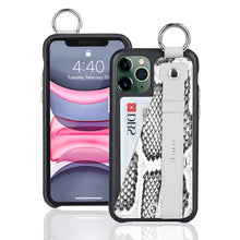 Load image into Gallery viewer, Snake embossed series edition Italian Leather kickstand Case iPhone 11 Pro Max - Black