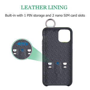 Snake embossed series edition Italian Leather kickstand Case iPhone 11 Pro - Black