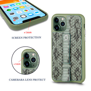 "Multicolor ""2"" Snake embossed leather iPhone 11 Pro Max Case - Green"