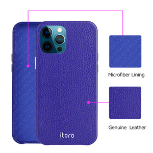 iPhone 12 | 12 Pro Leather Case_ITALY Leather - Sapphire blue