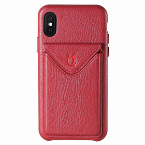 Cover n Go_iPhone X Italian Leather Case - Burgundy Red
