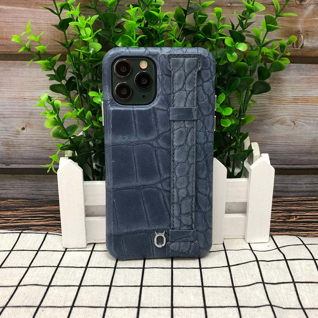 Crocodile embossed kickstand Leather Phone case iPhone 11