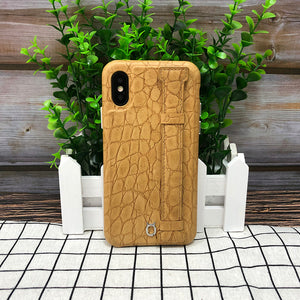 Crocodile embossed kickstand Leather Phone case iPhone 11 Pro Max