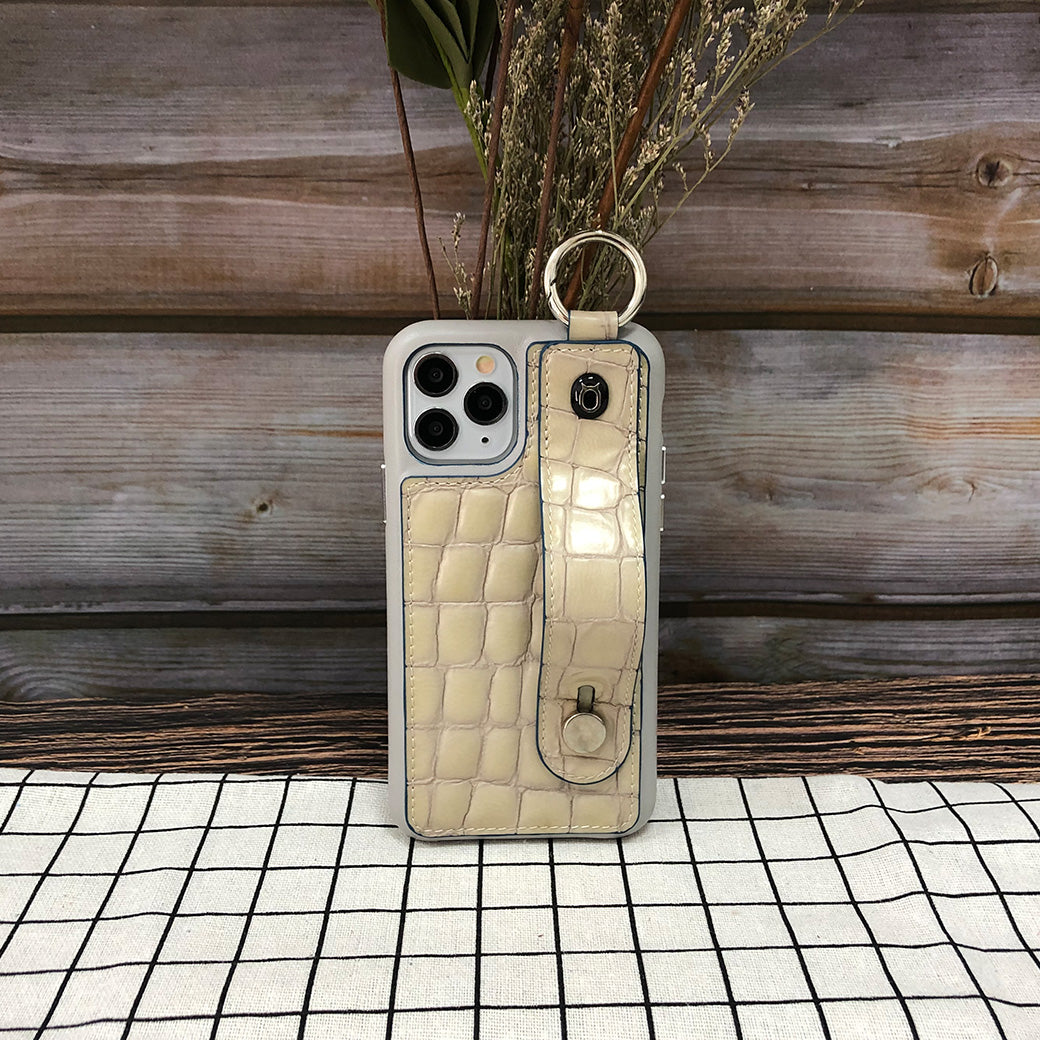 Crocodile embossed kickstand Series iPhone 11 Case with finger ring