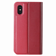 Load image into Gallery viewer, Folio n Go_iPhone X Italian Leather Case - Burgundy Red
