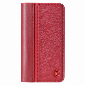 Folio n Go_iPhone X Italian Leather Case - Burgundy Red