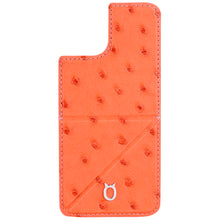 Load image into Gallery viewer, Ostrich Kickstand Leather Case iPhone 11 with stand function - Orange