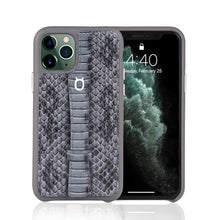 "Load image into Gallery viewer, Multicolor ""2"" Snake embossed leather iPhone 11 Case - Black"