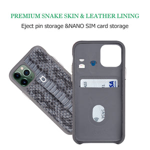 "Multicolor ""2"" Snake embossed leather iPhone 11 Case - Black"
