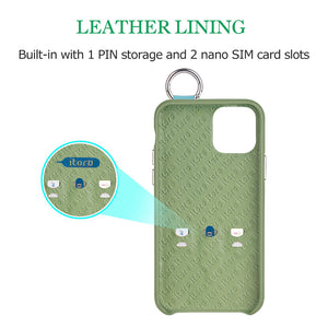 Snake embossed series edition Italian Leather kickstand Case iPhone 11 Pro - Green