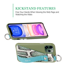 Load image into Gallery viewer, Snake embossed series edition Italian Leather kickstand Case iPhone 11 Pro Max - Green
