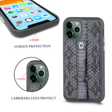 "Load image into Gallery viewer, Multicolor ""2"" Snake embossed leather iPhone 11 Pro Case - Black"
