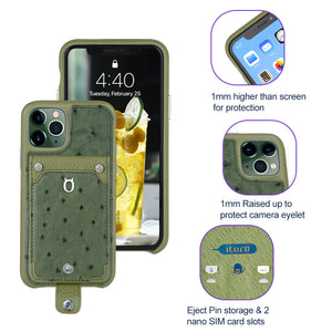 Ostrich detachable kickstand Wallets Leather Case iPhone 11 Pro Max - Green