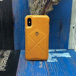 Italian Lizard Embossed Leather Case with Multiple standing function iPhone XS - orange