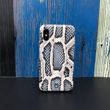 Load image into Gallery viewer, iPhone XS Italian Python Series Leather Case - Blue