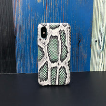 Load image into Gallery viewer, iPhone XS Italian Python Series Leather Case - Green