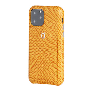 iPhone 11 Pro Max Italian Lizard Leather Case with Multiple standing function - Orange