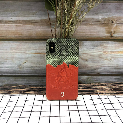 Lizard embossed Campfire Stories Series Leather Case iPhone XS