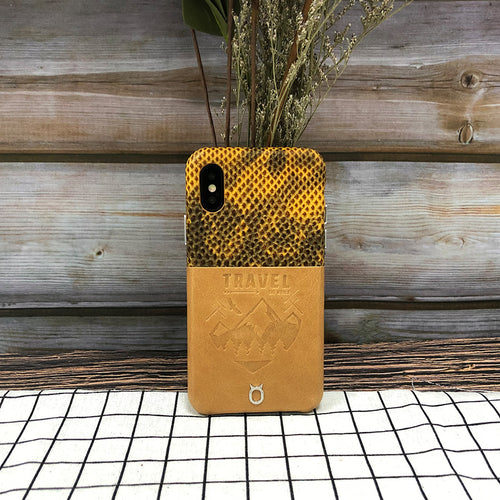 Lizard embossed Travel Series Leather Case iPhone XS