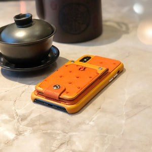 Ostrich detachable kickstand Wallets Leather Case iPhone XS