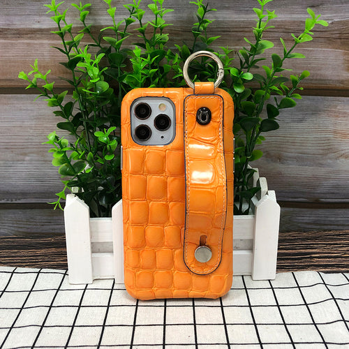 Crocodile embossed kickstand iPhone 11 Pro Max Leather Case with finger ring