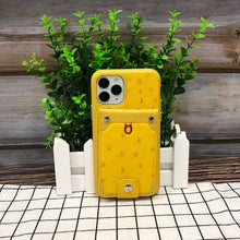 Load image into Gallery viewer, Ostrich detachable kickstand Wallets Leather Case iPhone 11 Pro - Yellow