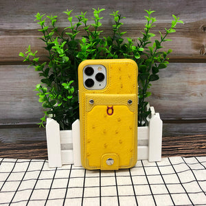 Ostrich detachable kickstand Wallets Leather Case iPhone 11 - Yellow