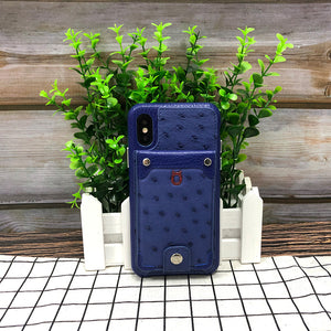 Ostrich detachable kickstand Wallets Leather Case iPhone 11 - Blue