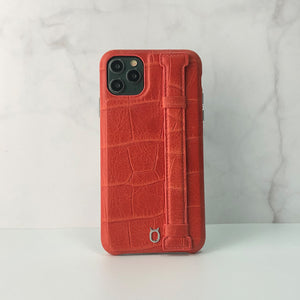 Crocodile embossed kickstand Leather Phone case iPhone 11 - red