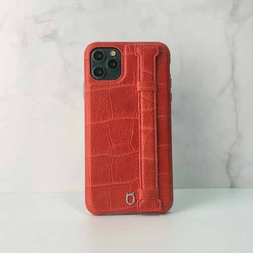 Crocodile embossed kickstand Leather Phone case iPhone 11 Pro Max - Red