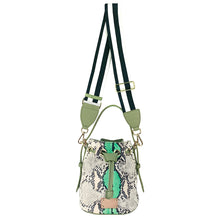 Load image into Gallery viewer, ITORO Italian Python Series Leather Mini Shoulder Bucket Bag - Green