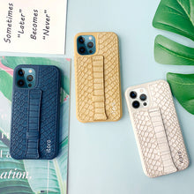 Load image into Gallery viewer, iPhone 12 | 12 Pro Italian Leather Case _ Snake Embossed Leather Bracket - Indigo