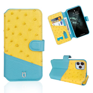 Ostrich Leather Folio Stand iPhone 12 Pro Max Case