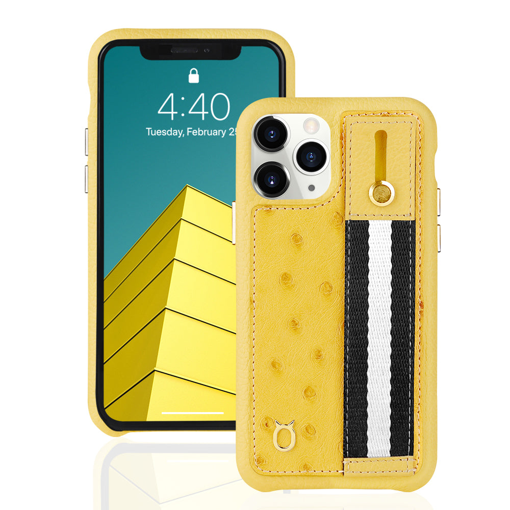 Ostrich Kickstand Leather Case iPhone 11 with stand function - Yellow
